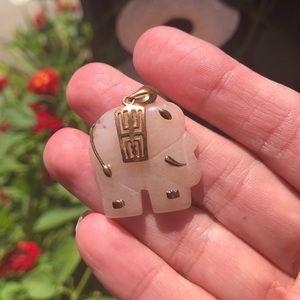 Pink jade elephant pendant